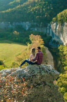 A couple on-top of Roark Bluff over the Buffalo River.