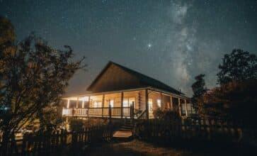 Big Sky cabin at night