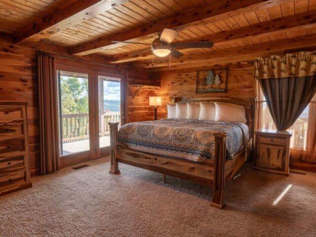 The spacious master bedroom of the Big Sky Cabin.