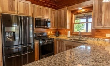 Whip up a hearty meal for your family or friends in the Big Sky Cabin's large, fully-appointed kitchen.