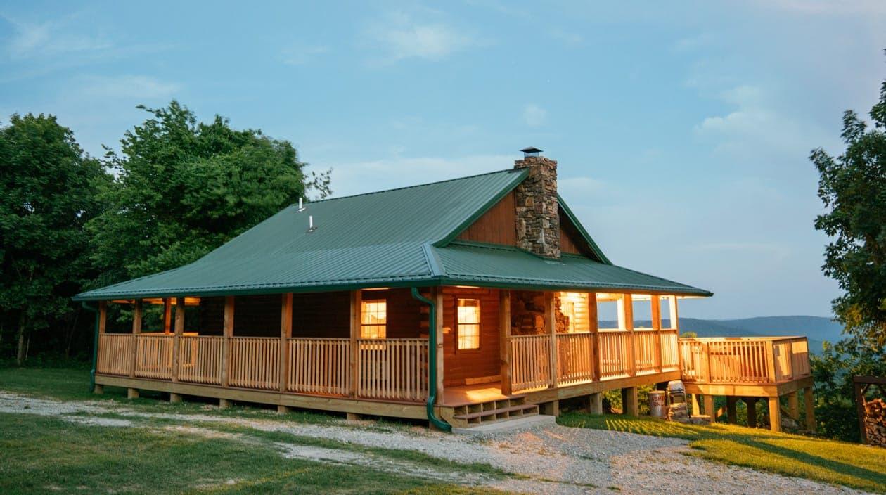 buffalo river cabin in the evening