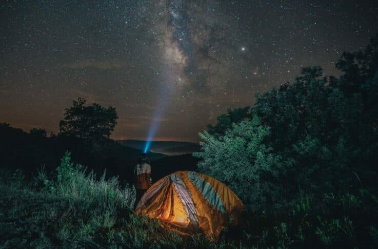 tent at night on the ponca