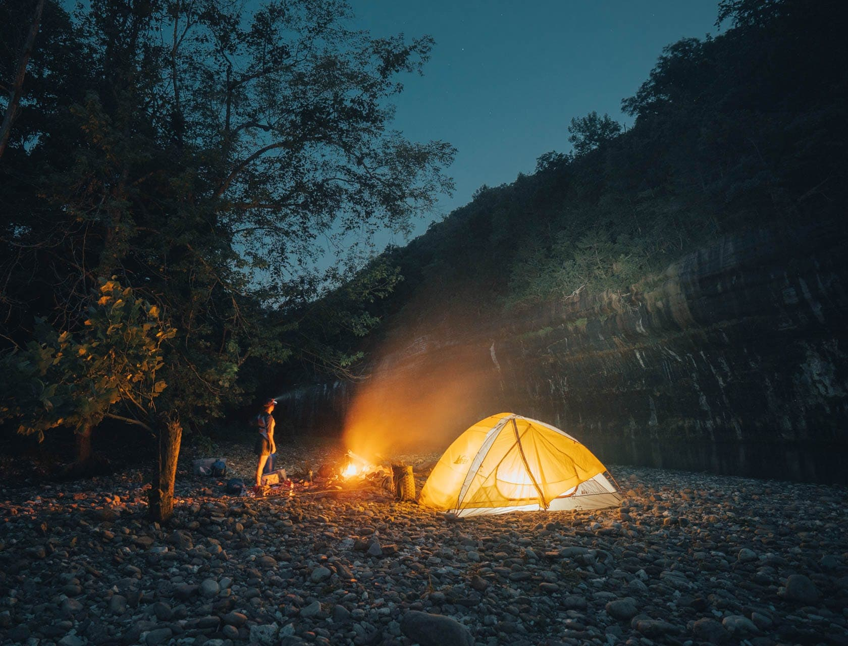 camping by the river and night stars