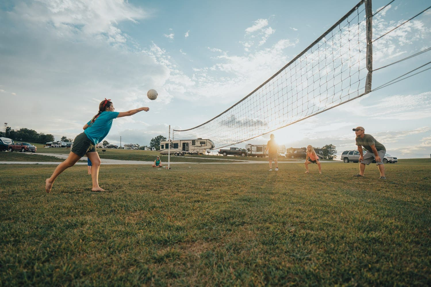 Enjoy a game of volleyball with the family at our RV park.