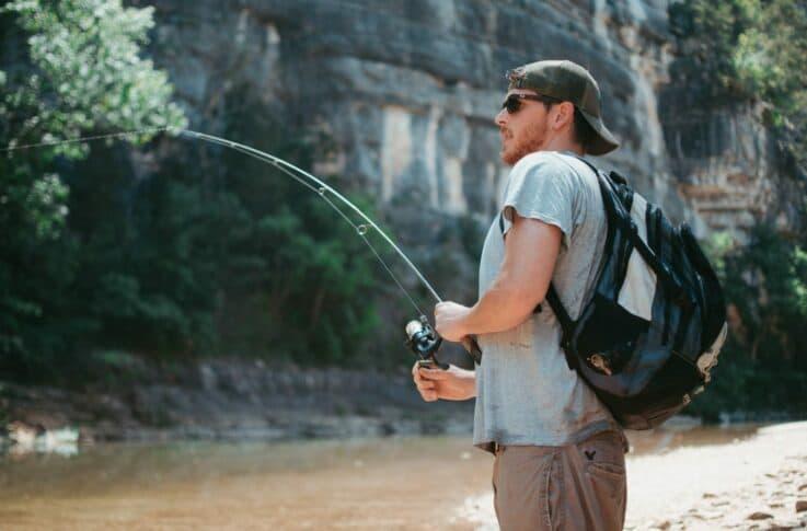 Man fishing in steel creek