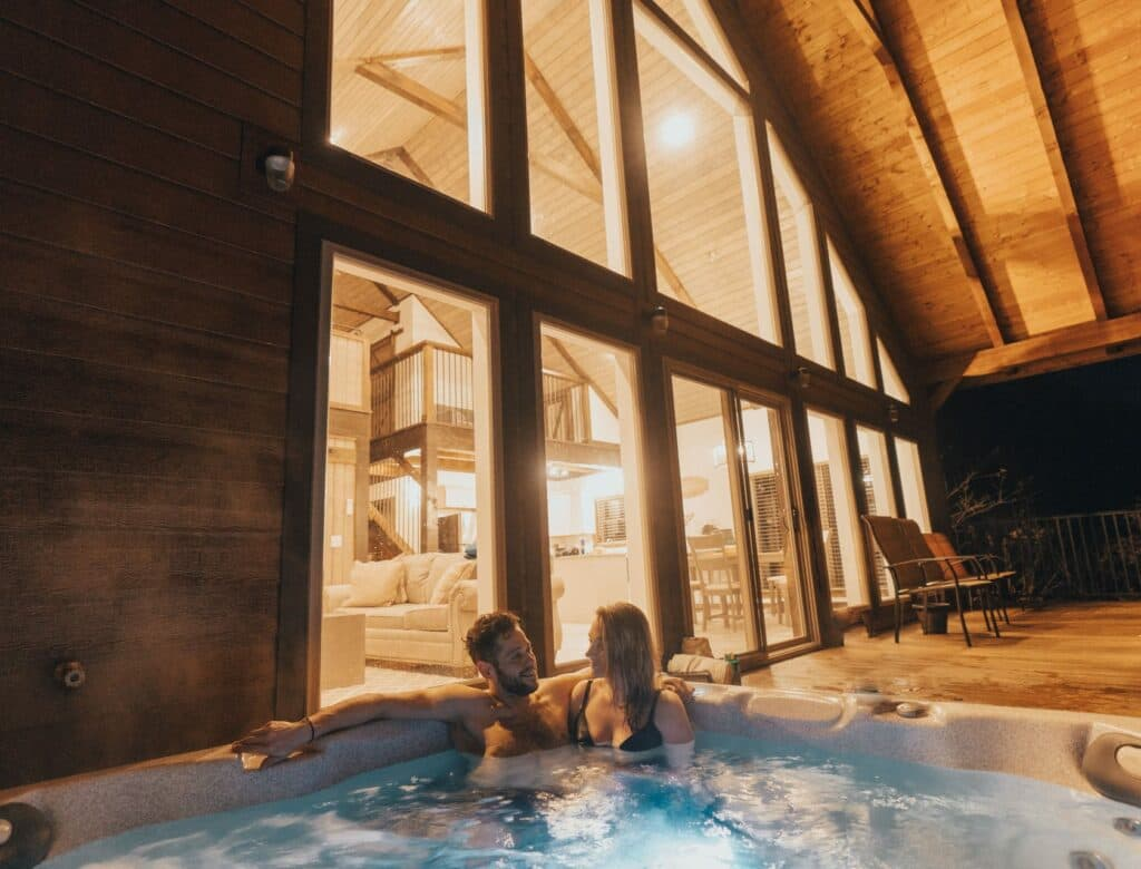 Romantic and secluded hot tub cabin at Buffalo Outdoor Center in Ponca, Arkansas.