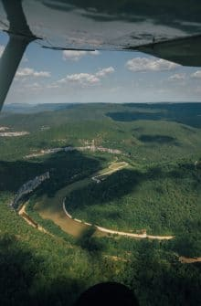 Flying over Steel Creek while coming into land at the BOC Captains Quarters.