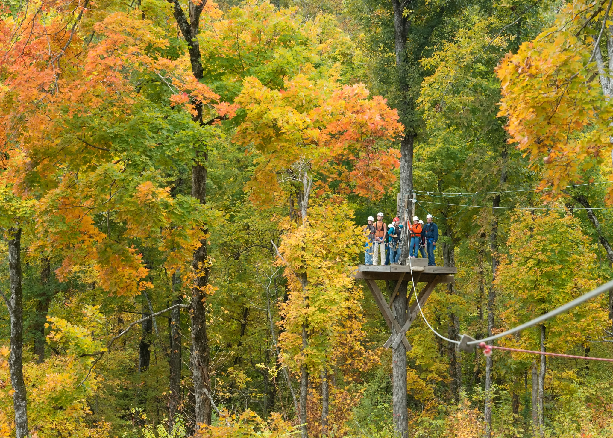 A group of young people preparing to zip line over Buffalo River wilderness