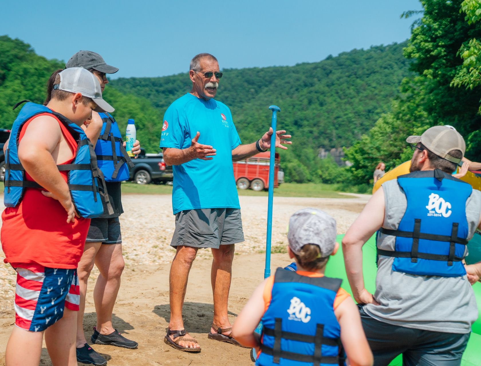 Bocages staff educating floaters on how to float the Buffalo River.