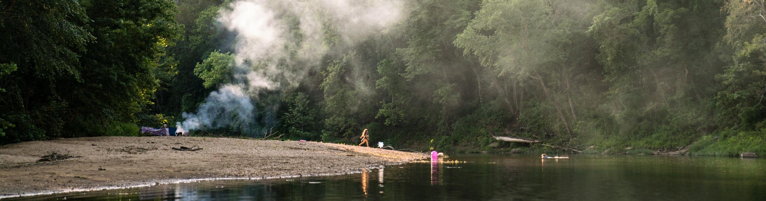 Family camping along rock bar on the Buffalo National River
