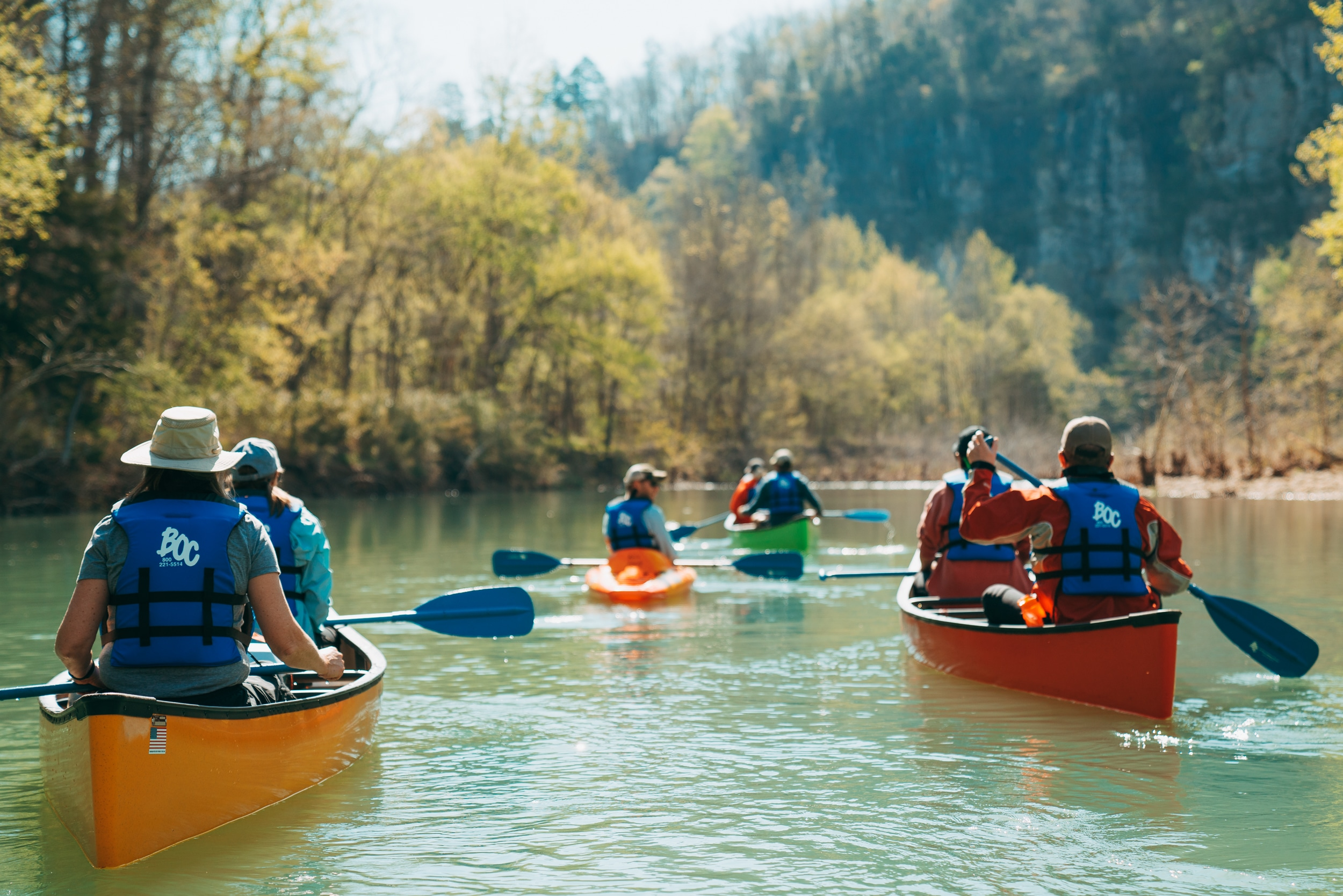 A group of BOC explorers float on Buffalo National River