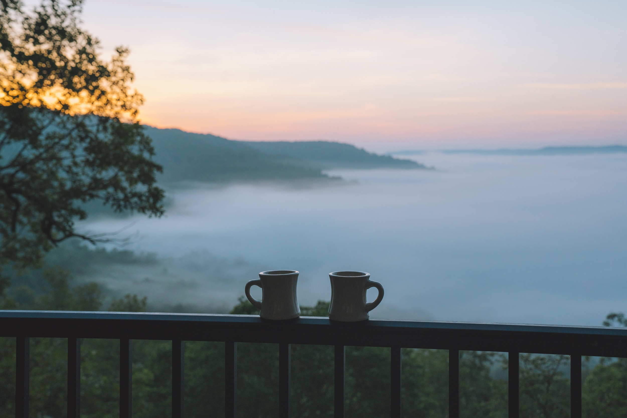 Enjoy a fresh cup of coffee with stunning sunrise views