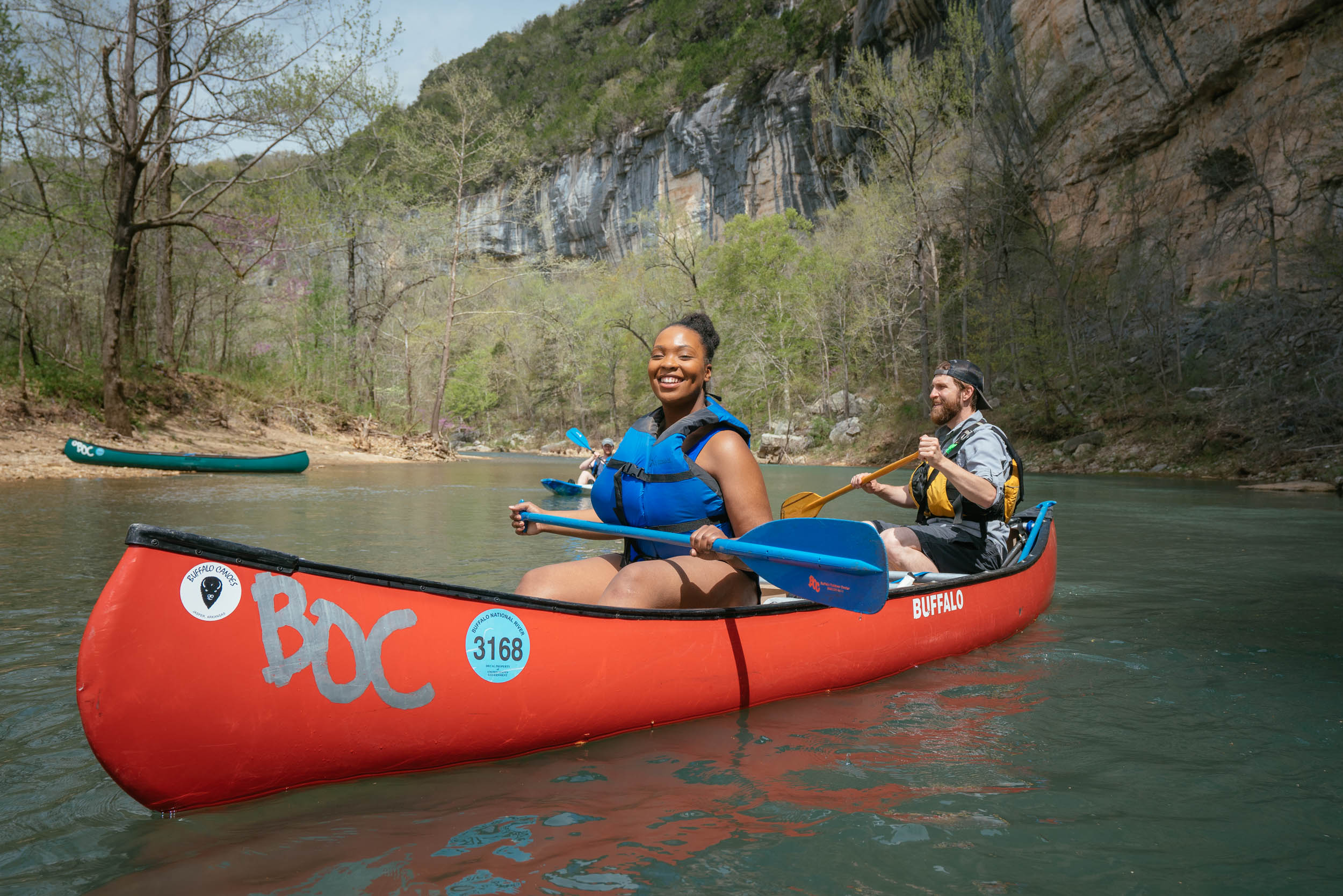 A couple floating in a BOC canoe on Buffalo River