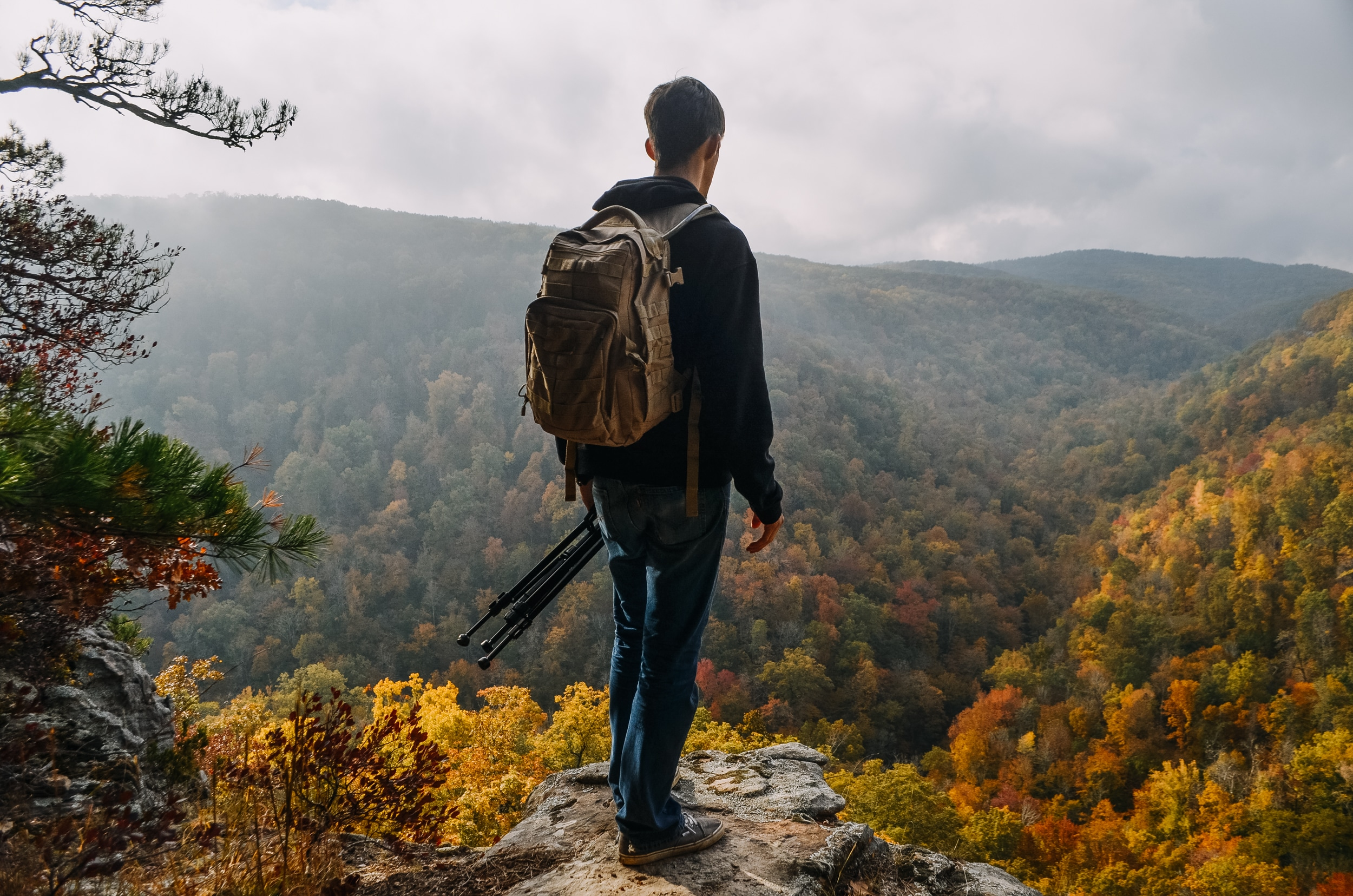 A hiker overlooking the upper Buffalo National River covered in foliage
