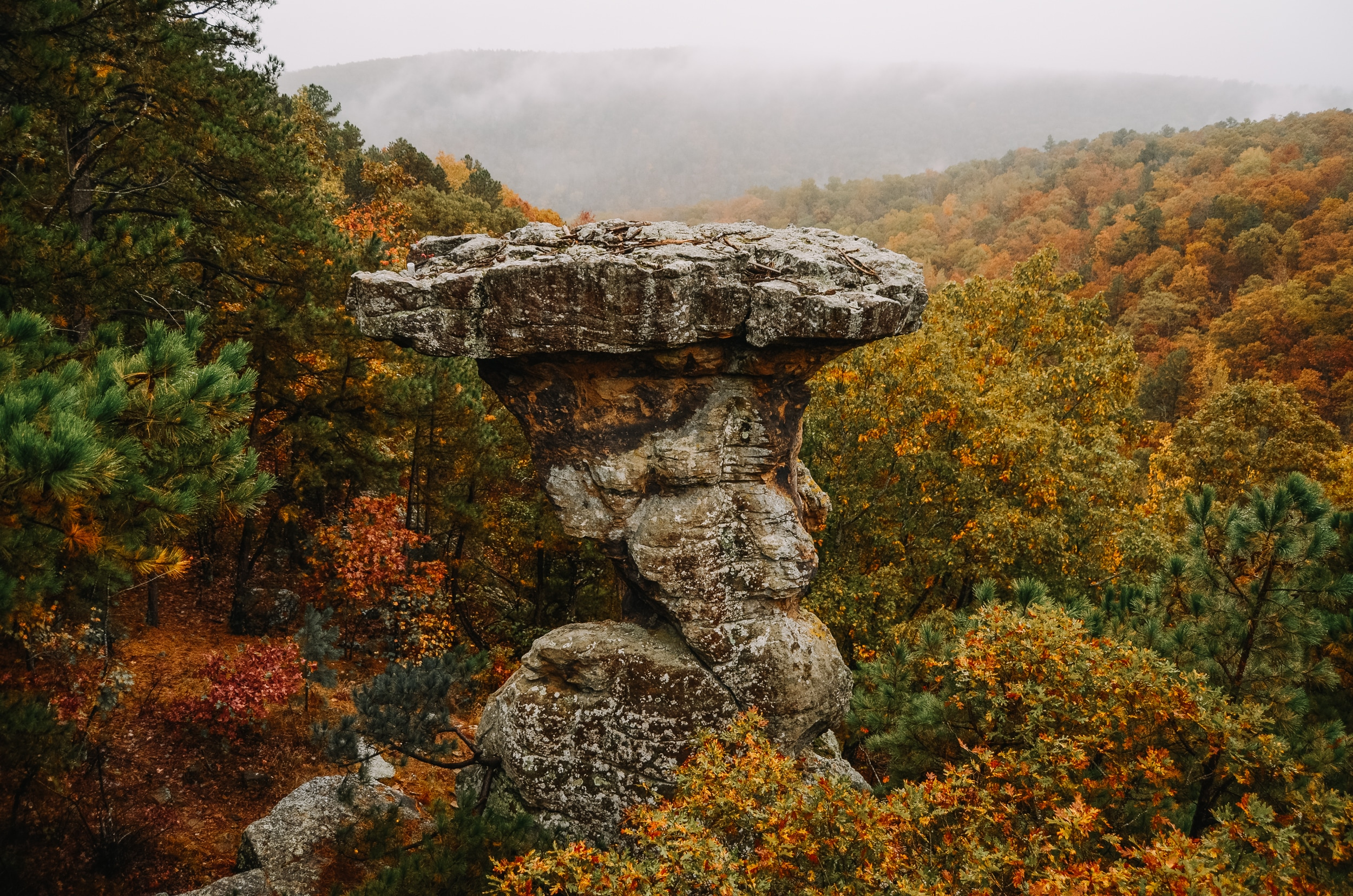 Pedestal Rocks of Ozark mountains and the magnificent view of Buffalo River Country