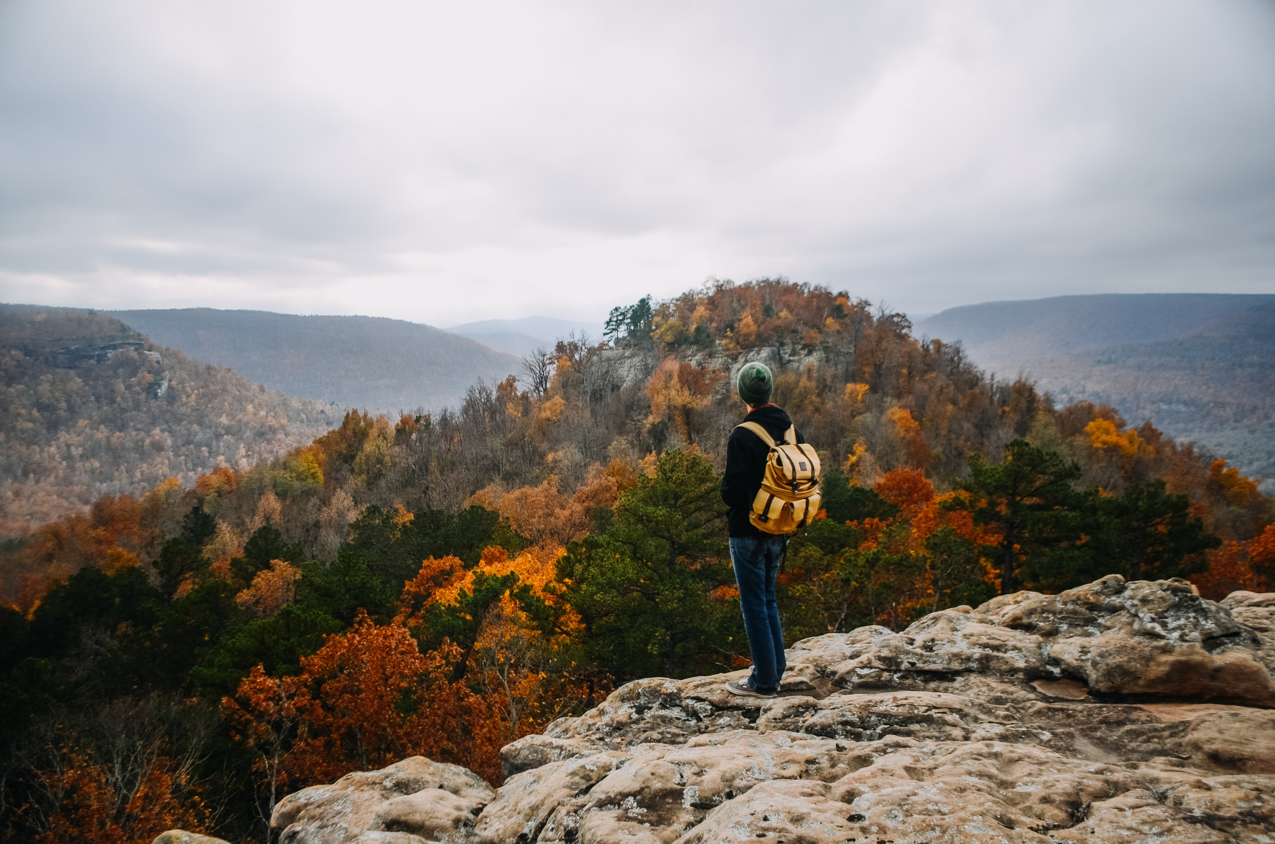 A hiker with a yellow backpack overlooking the foliage of Ozarks