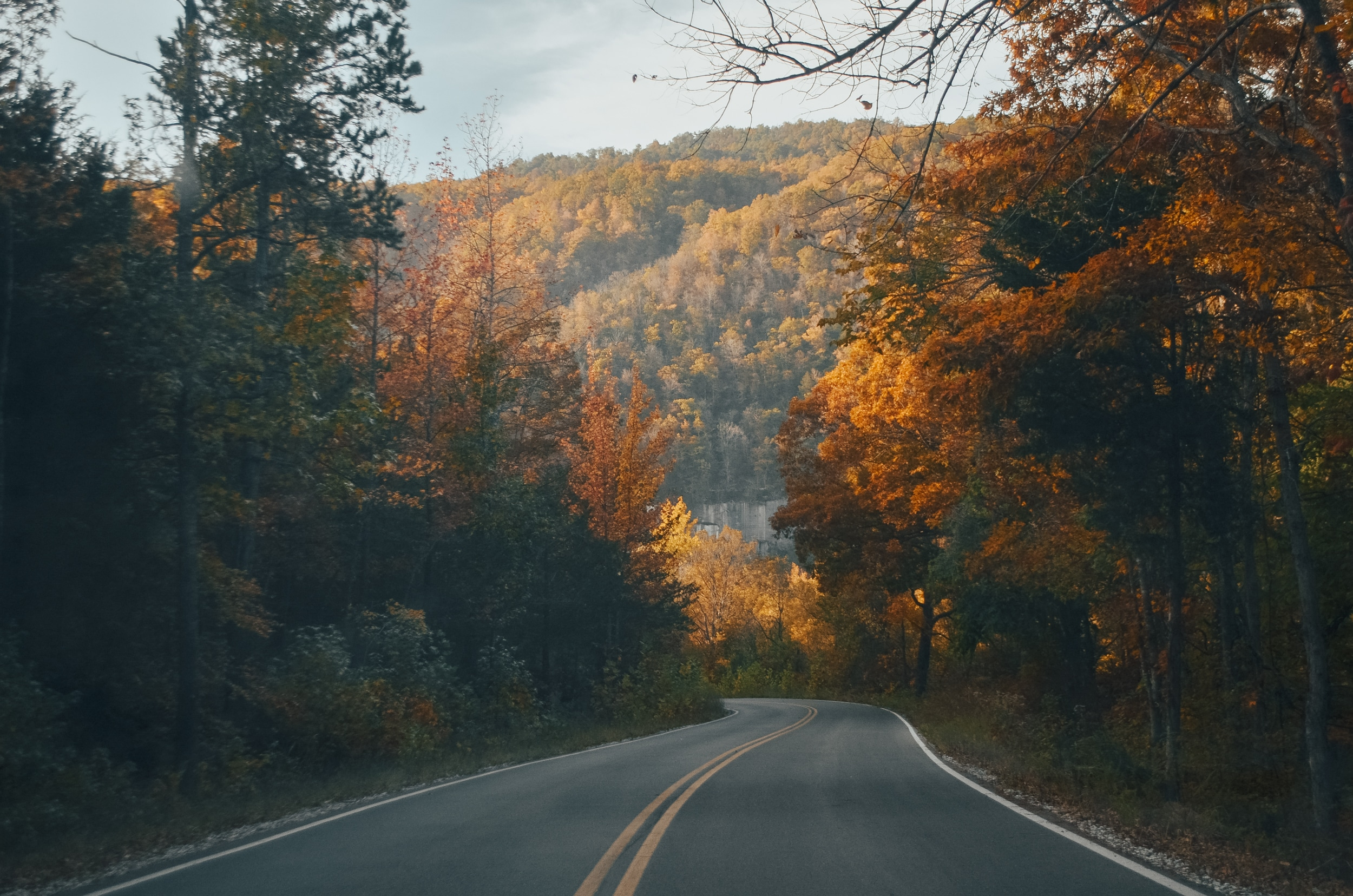 Fall view of Ponca road and Ozarks in the background