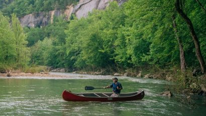 Canoeist on Buffalo National River