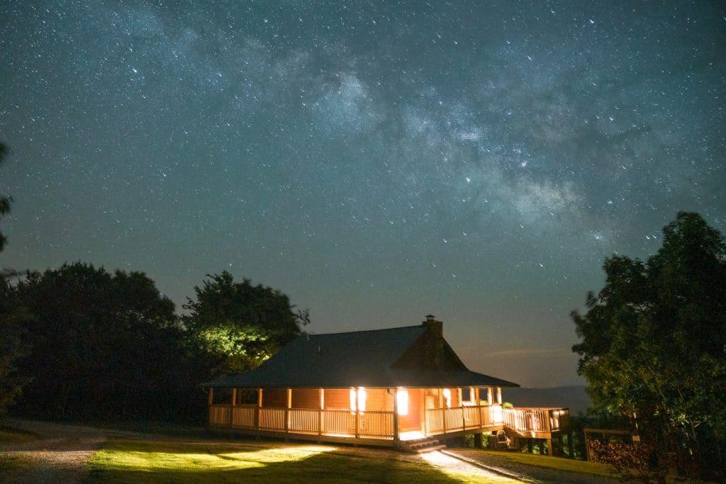 Milky Way over the Buffalo River Cabin at Buffalo Outdoor Center.