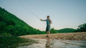 Man fishing along Buffalo River